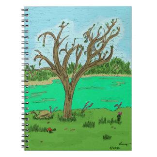 木のノートが付いている入り江 ノートブック