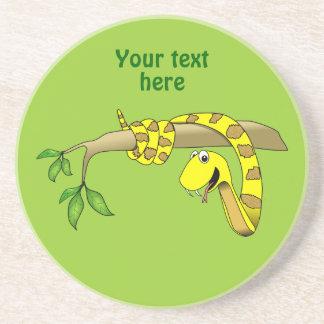 木のハ虫類のかわいい漫画の黄色のヘビ コースター