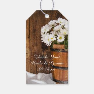 木のバケツのデイジーの国の結婚式の引き出物のラベル ギフトタグ