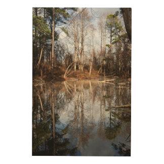 木のビーバーの池の鏡 ウッドウォールアート