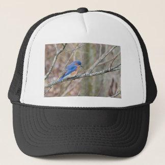 木のブルーバードの青い鳥 キャップ