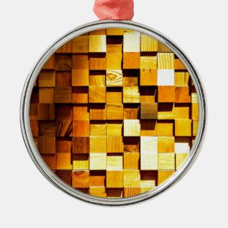 木のブロックパターン メタルオーナメント