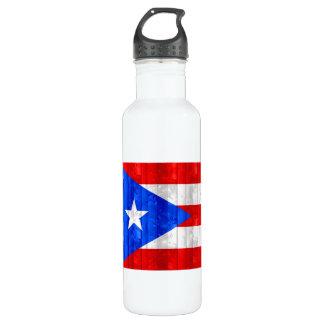木のプエルトリコの旗 ウォーターボトル