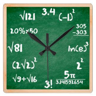 木のボーダーが付いている数学の時計 スクエア壁時計