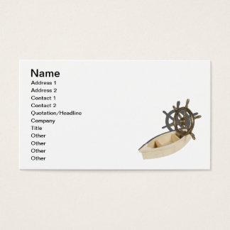 木のボートの真鍮の船の車輪 名刺