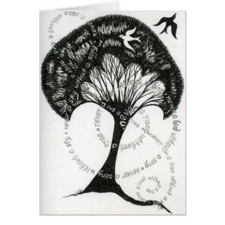 木のメッセージカードのない決して根 カード