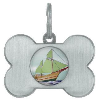 木のヨット ペットネームタグ