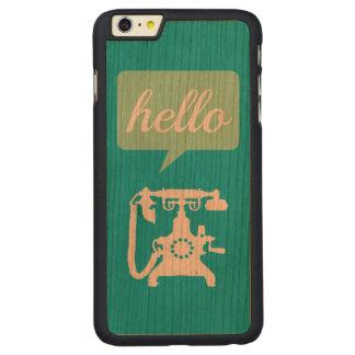 木のレトロの真新しいレトロの電話こんにちは CarvedチェリーiPhone 6 PLUSスリムケース