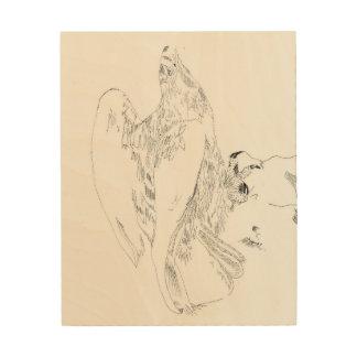 木のワシのペンとインク ウッドウォールアート