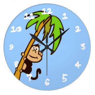 木の上の猿 ラージ壁時計