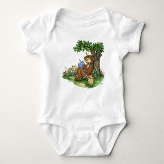 木の下のザカリーくまの読書 ベビーボディスーツ