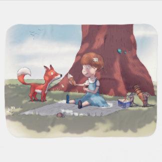 木の下の漫画の女の子 ベビー ブランケット