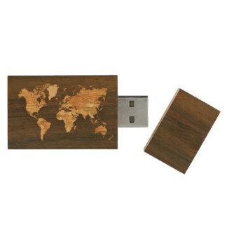 木の世界地図 木製 USB メモリ