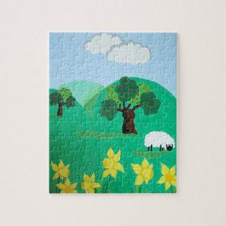 木の丘の青空を持つヒツジは芸術を美化します ジグソーパズル