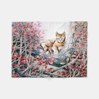 木の中国のな猫の芸術猫 フリースブランケット