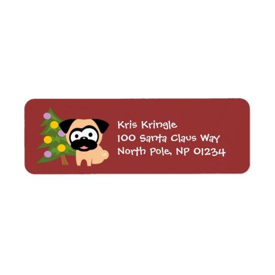 木の休日の差出人住所ラベルが付いているパグ 返信用宛名ラベル
