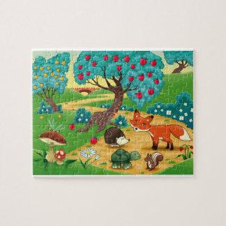 木の動物が付いているおもしろいなパズル ジグソーパズル