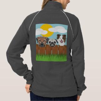 木の塀のイラストレーションの幸運な犬 ジャケット