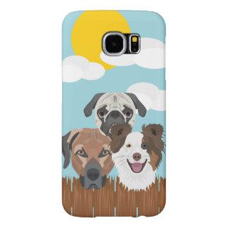 木の塀のイラストレーションの幸運な犬 SAMSUNG GALAXY S6 ケース