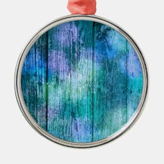 木の塀の落書きの紫色の青緑のターコイズ メタルオーナメント