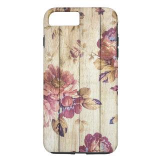 木の壁のぼろぼろのシックでロマンチックなバラ iPhone 8 PLUS/7 PLUSケース