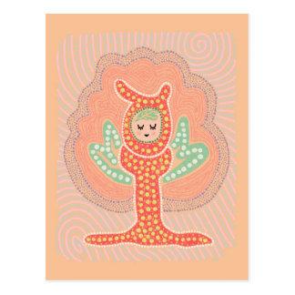 木の妖精の夢の国の点の絵画 ポストカード