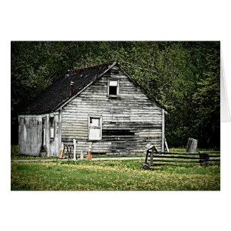 木の家の古い掘っ建て小屋 カード