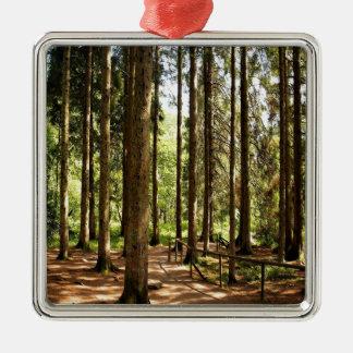 木の小ぎれいな錯覚 シルバーカラー正方形オーナメント
