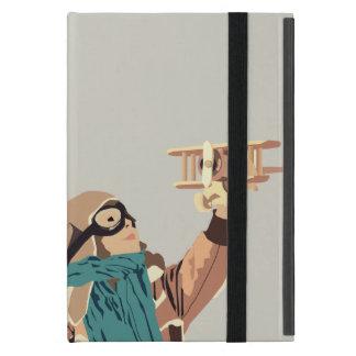 木の平らなタブレットの箱を持つ若い女の子 iPad MINI ケース