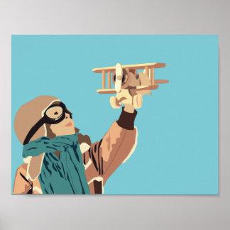 木の平らなポスターを持つ若い女の子 ポスター