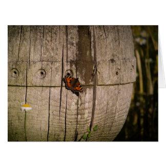 木の彫刻の蝶 カード