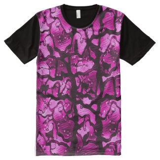 木の挑戦の黒猫 オールオーバープリントシャツ
