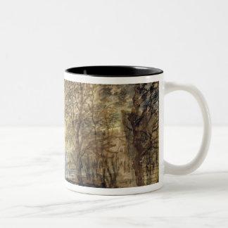 木の日没 ツートーンマグカップ