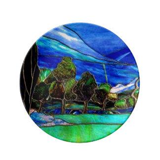 木の景色のステンドグラス窓の芸術 磁器プレート