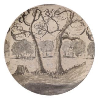 木の景色のメラミンプレート プレート