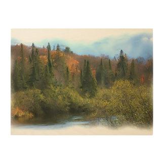 木の景色の秋の白熱 ウッドウォールアート