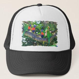 木の枝の虹のlorikeetsの群 キャップ