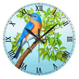 木の柱時計の東のブルーバード ラージ壁時計