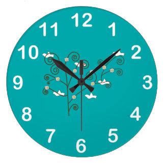 木の柱時計の鳩 ラージ壁時計