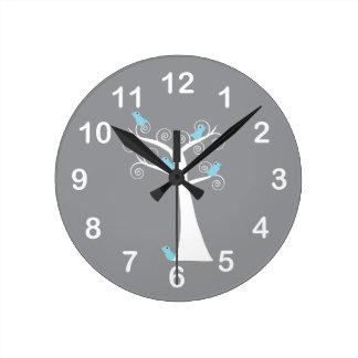 木の柱時計の5羽の青い鳥 ラウンド壁時計