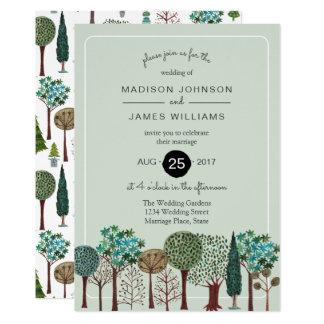 木の森林森林|結婚の|招待状 カード