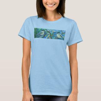 木の水彩画の絵画の《鳥》アメリカゴガラの鳥 Tシャツ