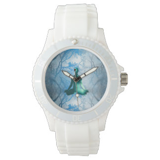 木の浮遊ヨーガ行者(青い) 腕時計