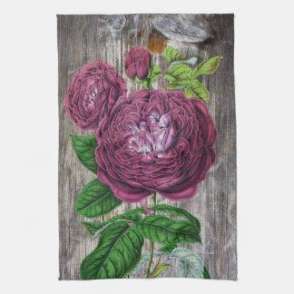 木の深紅のバラ キッチンタオル