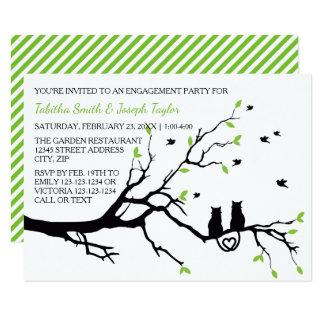 木の猫は- 3x5婚約パーティを縞で飾ります カード