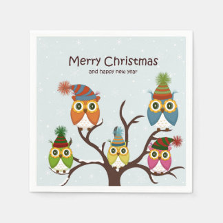 木の紙ナプキンのメリークリスマスのフクロウ スタンダードカクテルナプキン