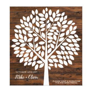 木の結婚式の来客名簿の代わり| 120の葉 キャンバスプリント