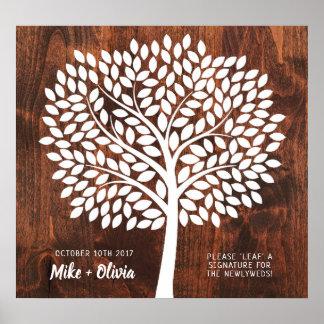 木の結婚式の来客名簿の代わり| 190の葉 ポスター