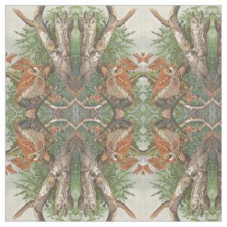 木の織物の2羽の怒っているヴィンテージのフクロウ ファブリック