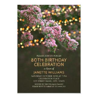 木の花は素朴な花柄の第80誕生日をつけます カード